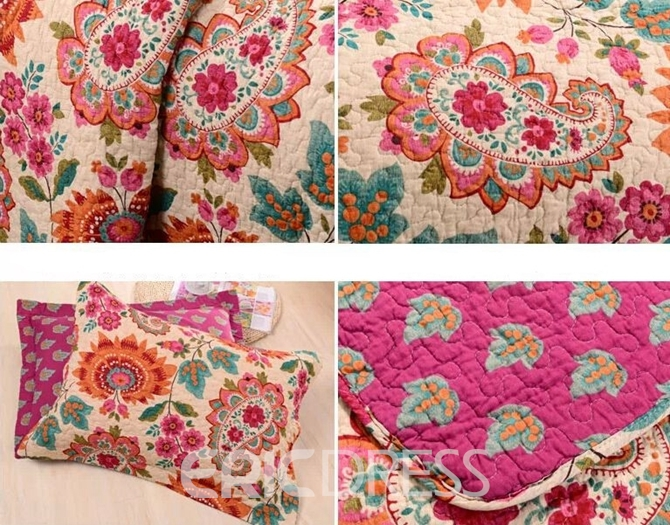 Vivilinen Paisley Floral Prints Boho Chic Cotton 3-Piece King Size Bed