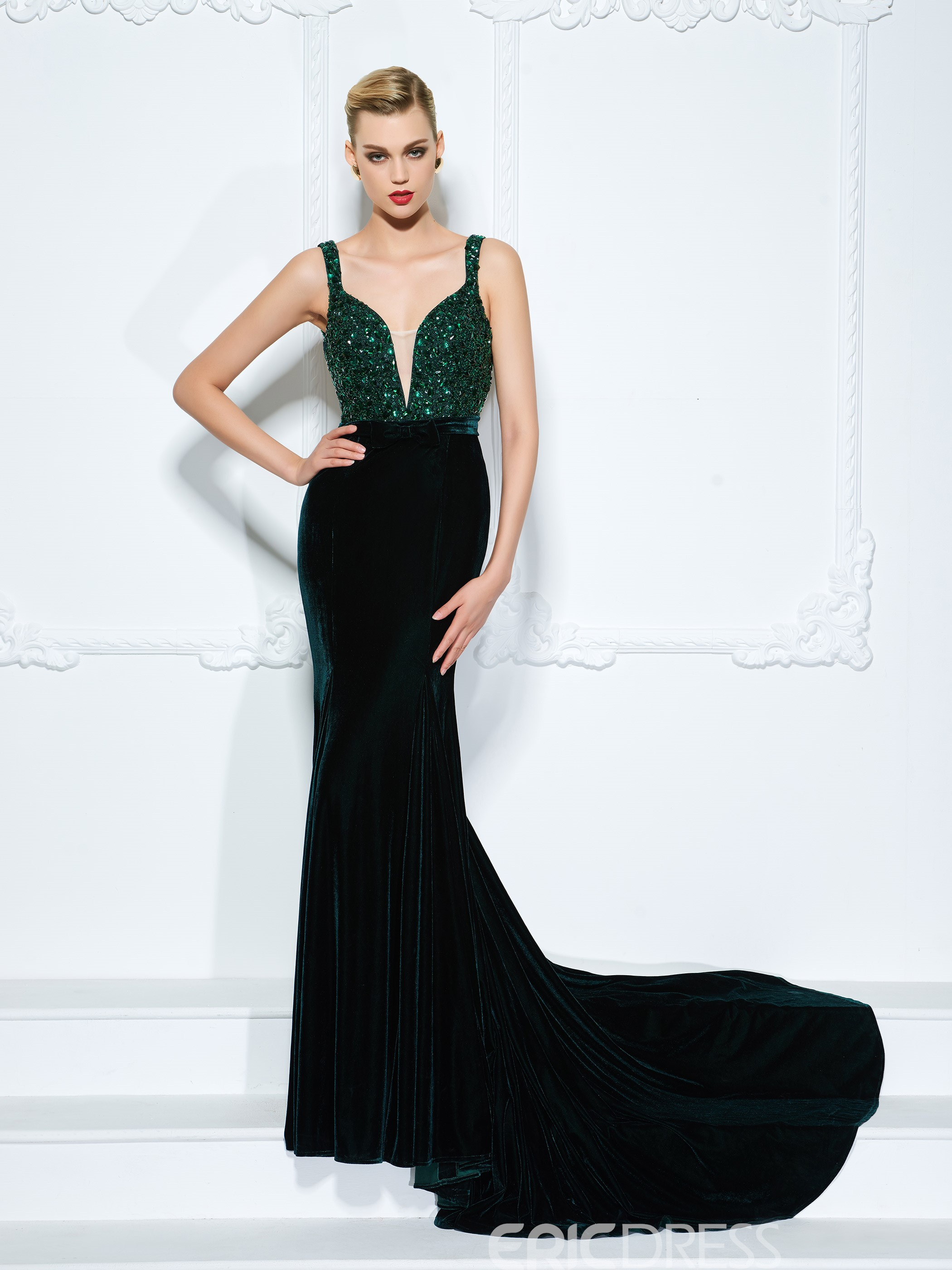 ca133fa625e70e Ericdress Straps Beading Bowknot Mermaid Evening Dress With Court Train