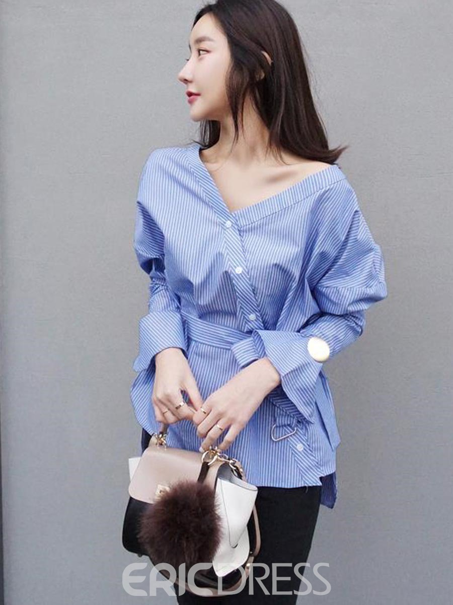 Ericdress Sky Blue Oblique Button Blouse