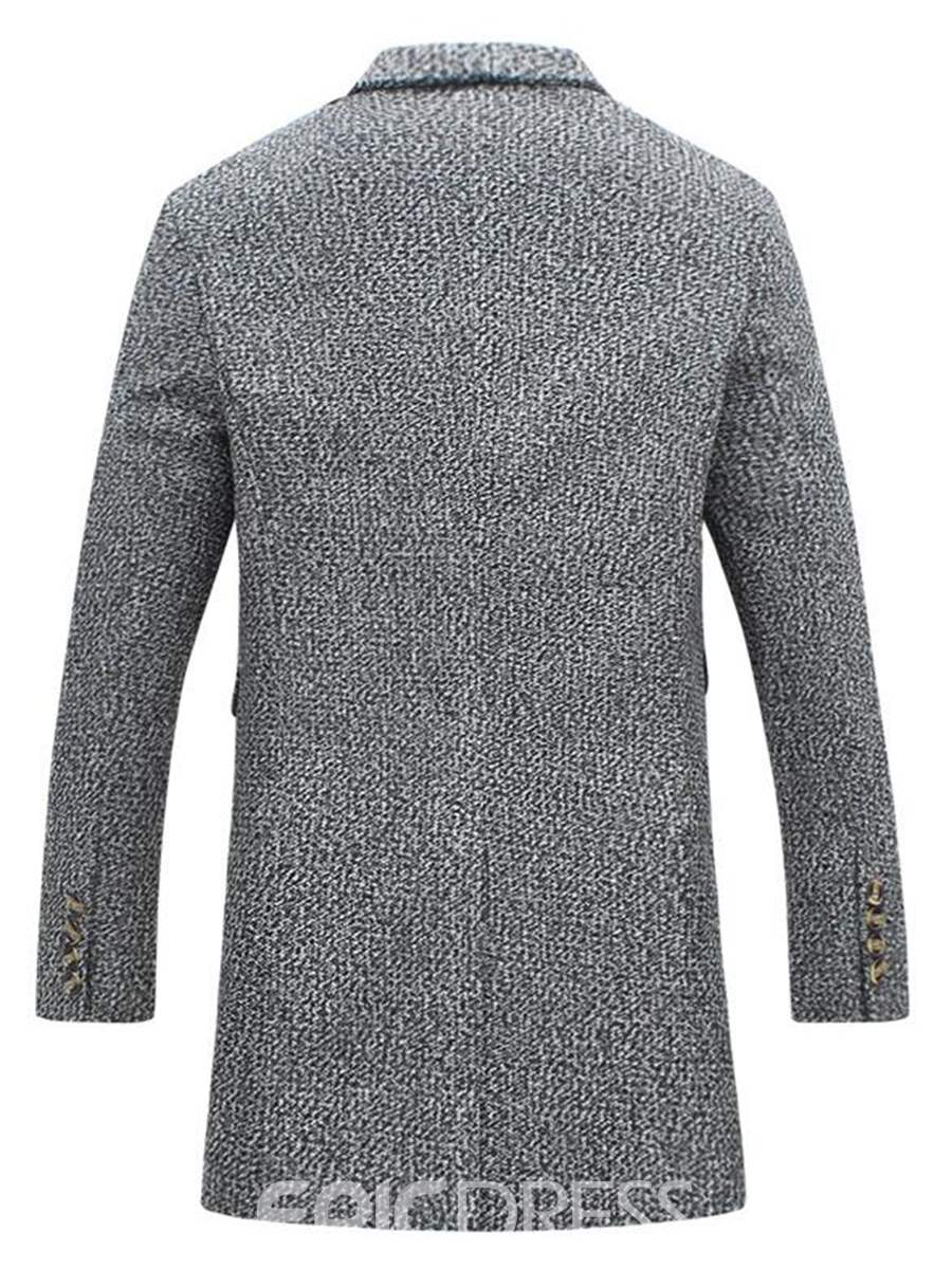 Ericdress Notched Lapel Vogue Single-Breasted Men's Wool Coat