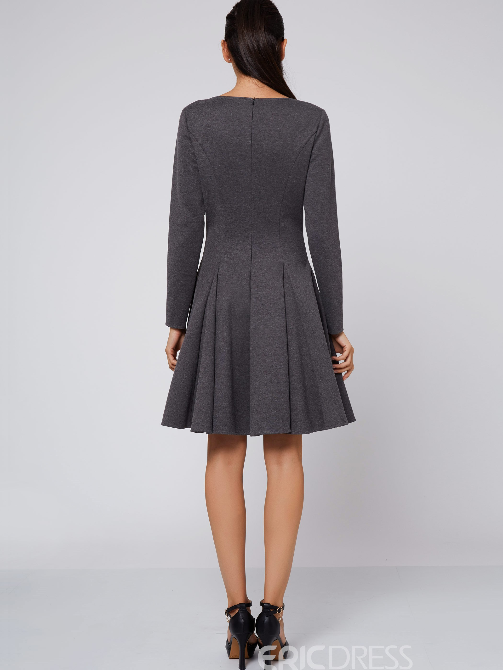 Ericdress Plain Simple Long Sleeves A Line Dress