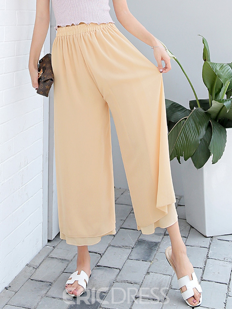 Ericdress Sweet Solid Color Wide Legs Pants