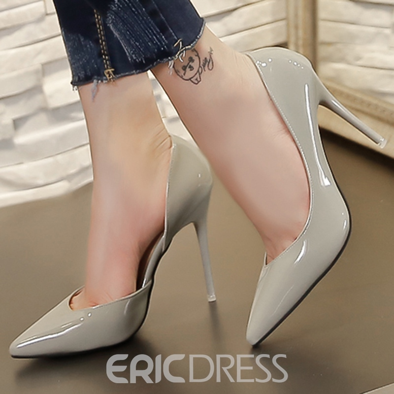 Ericdress en cuir verni Point Toe Pumps