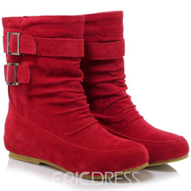 Ericdress Sweet Suede Ankle Boots with Buckles