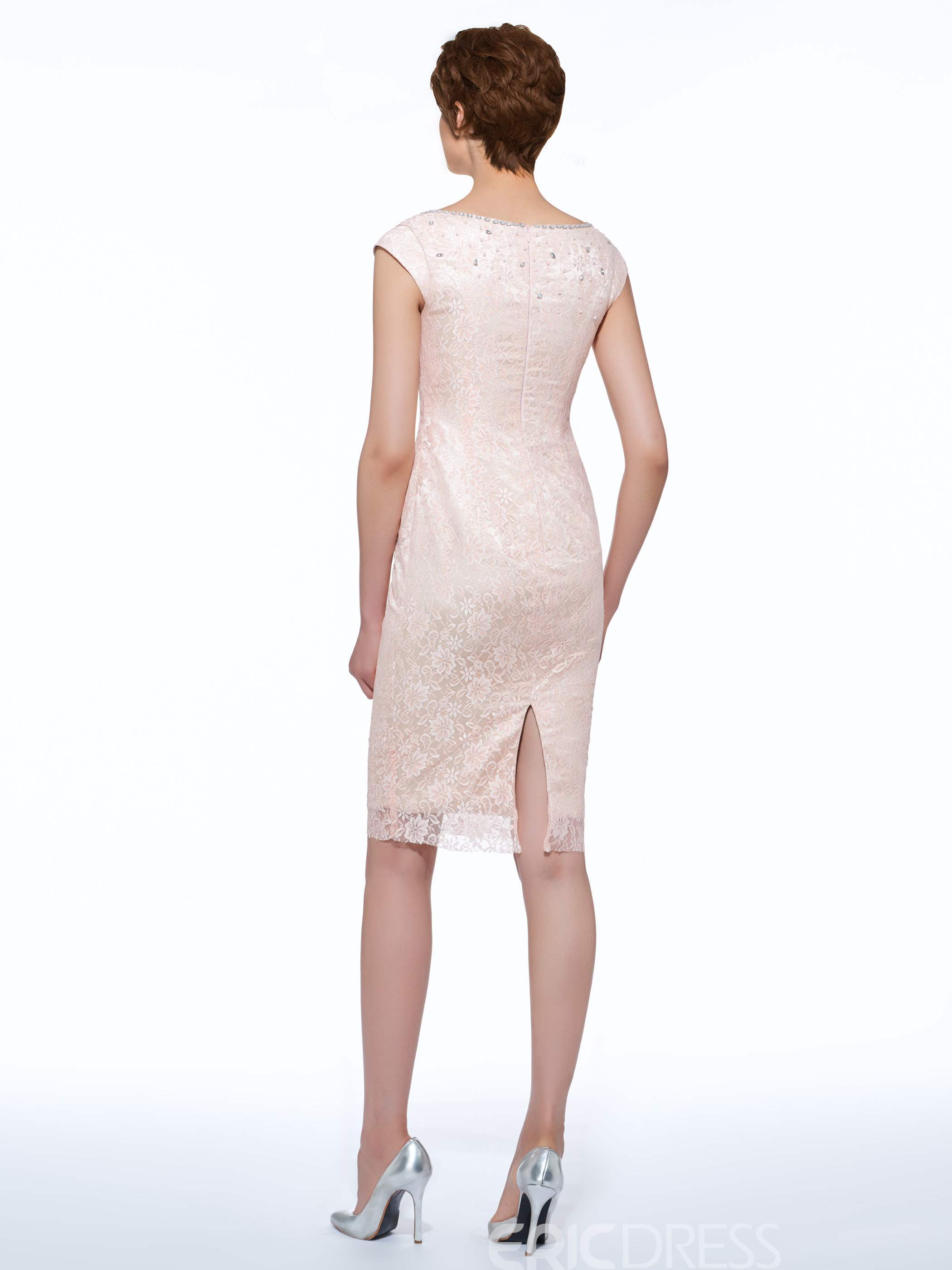 Ericdress Beautiful Sheath Knee Length Lace Mother Of The Bride Dress With Jacket