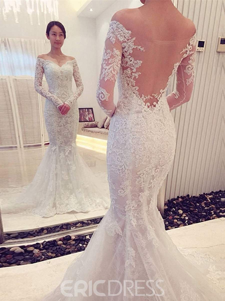5bfec71bd95d Ericdress Mesh Mermaid Lace Long Sleeves Off Shoulder Wedding Dress with  Train | ExtraordinaryDresses.com