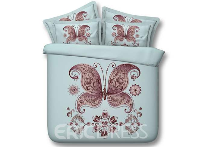 Burgundy Butterfly Printed 4-Piece 3D Bedding Sets/Duvet Covers