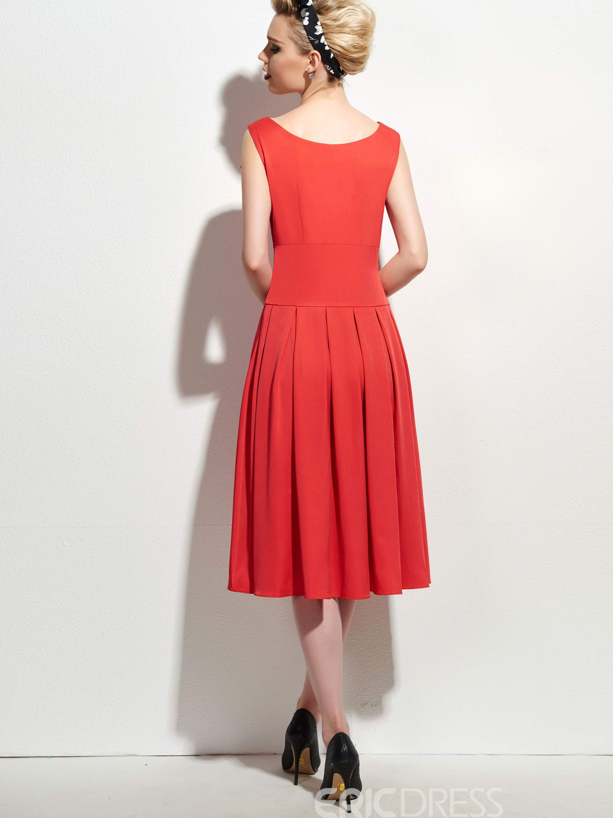 Ericdress Sleeveless Pleated Plain A Line Dress