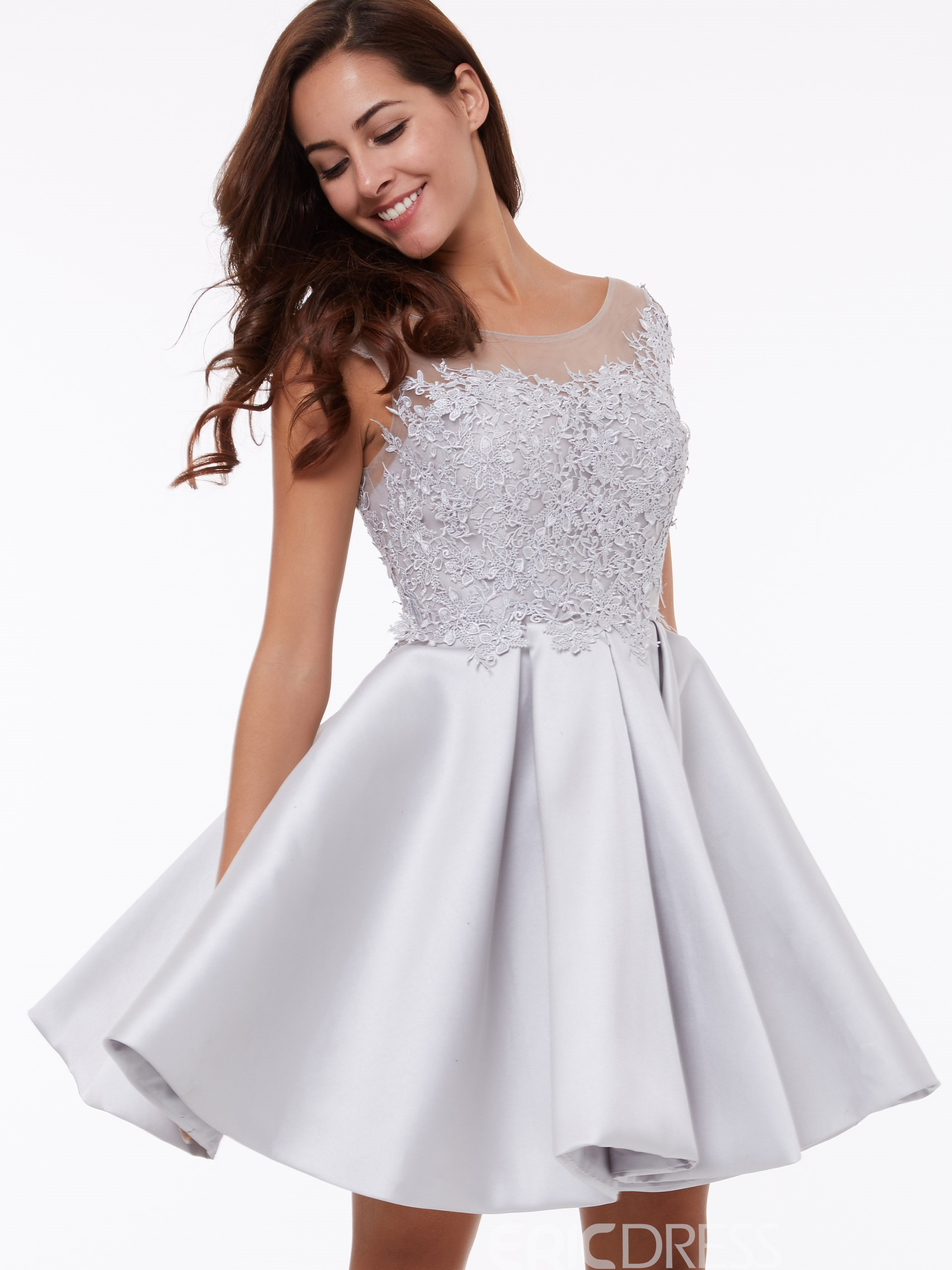 Homecoming Dress Cap Sleeves Short A-Line