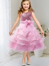 Ericdress Sequins Embroidery Layers Flabala Mesh Girls Dress