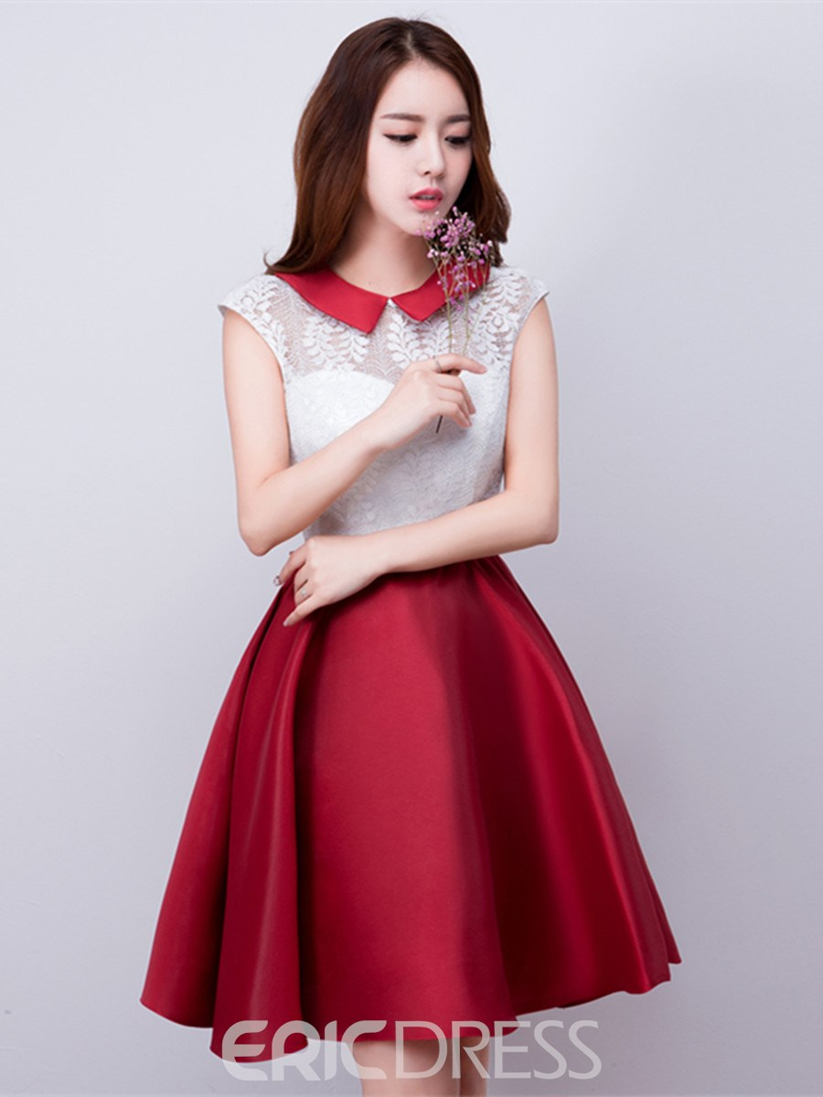 Ericdress A-Line Jewel Neck Bowknot Lace Short Homecoming Dress