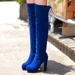 Ericdress Elegant Lace-Up Platform Chunky Heel Knee High Boots фото