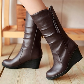 Ericdress All Match PU Wedge Boots