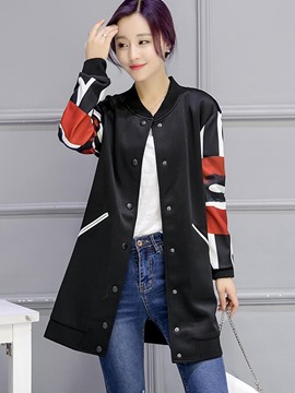 Ericdress Color Block Single-Breasted Plus Size Trench Coat