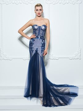 Ericdress Trumpet Sweetheart Appliques Sequins Court Train Evening Dress