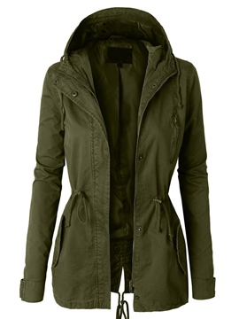 Ericdress Solid Color Slim Hooded Army Green Coat