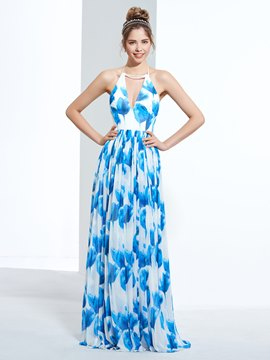 Ericdress A-Line Halter Printed Sweep Train Zipper-Up Prom Dress
