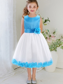 Ericdress Patchwork Petal Lace-Trim Sleeveless Girls Dress