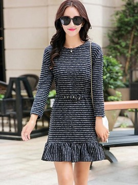Ericdress Stripe Patchwork Round Neck Casual Dress