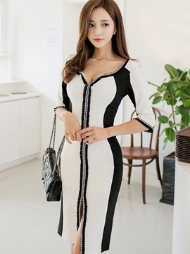 Ericdress Color Block V-Neck Three-Quarter Sleeve Bodycon Dress