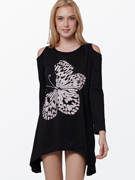 Ericdress Slim Butterfly Off-Shoulder T-Shirt