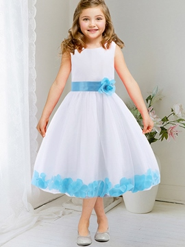 Ericdress Pure Appliques Lace-Trim Bow Tie Girls Dress