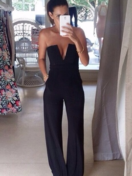 Ericdress Plain Full Length Mid-Waist Bellbottoms Jumpsuit