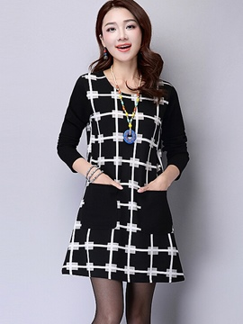 Ericdress Color Block Long Sleeve A-Line Casual Dress