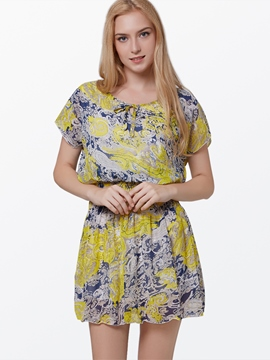 Floral Print Short Sleeve Chiffon Dress