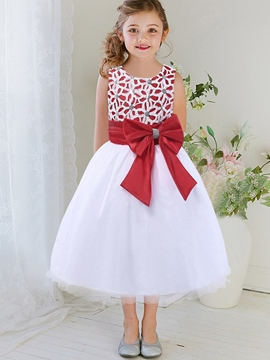 Ericdress Lcae Hollow Appliques Sequins Embroidery Bow-Belt Girls Dress