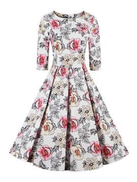 Ericdress Flower Print Round Neck Pleated A Line Dress