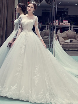 Ericdress Beautiful Sweetheart Backless Wedding Dress With Sleeves