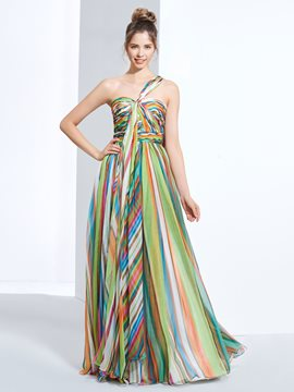 Ericdress A-Line One-Shoulder Pleats Printed Watteau Train Prom Dress