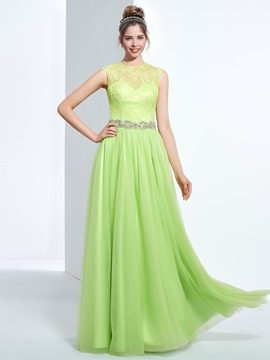 Ericdress A-line Jewel Beading Button Lace Long Prom Dress