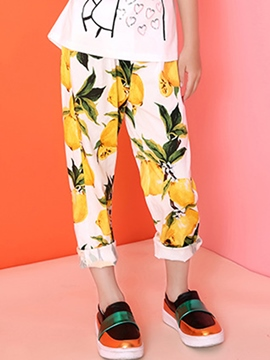 Ericdress Fruits Printed Straight Leg Girls Bottoms
