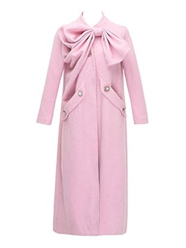 Ericdress Solid Color Pleated Bowknot Coat