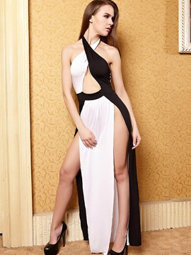 Ericdress Color Block Slit Hollow Sexy Clubwear