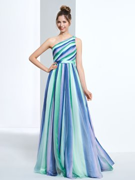 Ericdress A-Line One-Shoulder Pleats Printed Long Prom Dress