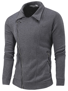 Ericdress Oblique Zip Simple Casual Men's Hoodie