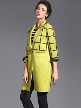 Ericdress Straight Plaid Coat