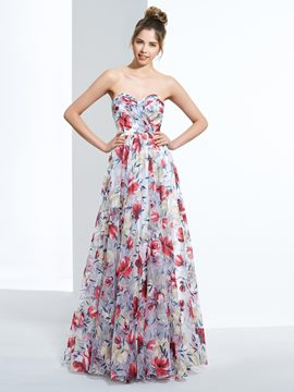 Ericdress A-Line Sweetheart Printed Ruched Long Prom Dress
