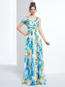 Ericdress Straps A-Line Printed Ruched Floor-Length Prom Dress