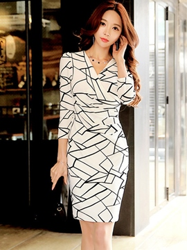 Ericdress V-Neck Three-Quarter Sleeve Sheath Dress