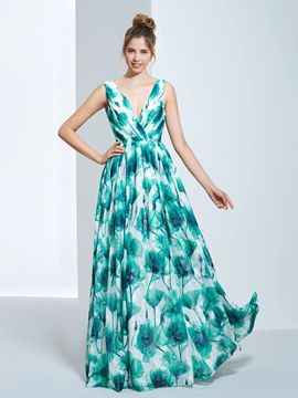 Ericdress A-Line V-Neck Pick-Ups Printed Long Prom Dress