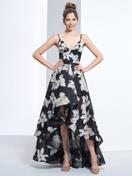 Ericdress A-Line Spathetti Straps Printed Asymmetry Prom Dress