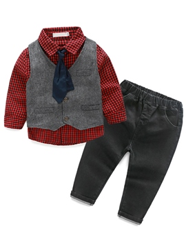 Ericdress Plaid Long Sleeve Shirt Vest Jeans 3-Pcs Boys Outfit