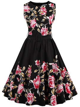 Ericdress Vintage Sleeveless Print A Line Dress