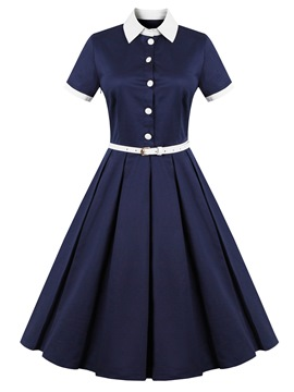 Ericdress Single-Breasted Lapel Belt Expansion A Line Dress