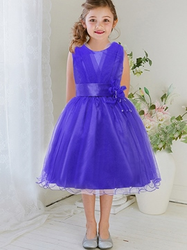 Ericdress Cross-Laminated Appliques Belt Wave-Cut Girls Dress