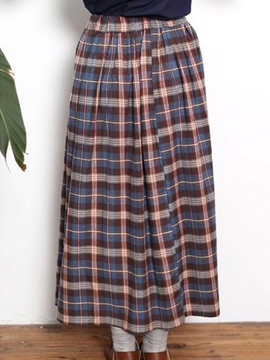 Plaid falda Maxi Simple Ericdress
